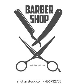 vintage barber shop logo, label, badge and design element, vector illustration isolated on white background. Combs and scissors logo for barbershops, beauty salons, hairdressers