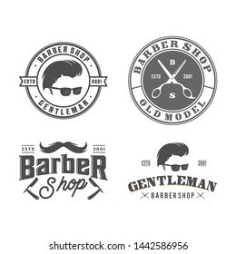 vintage barbershop and badge logo template