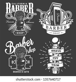 Vintage barbershop badges with barber accessories pole razor blade on dark background isolated vector illustration