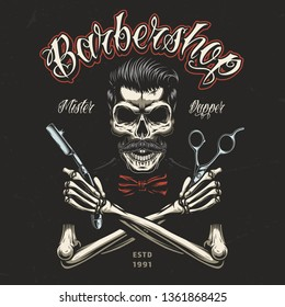 Vintage barbershop colorful badge with skeleton hands holding barber tools and skull with trendy hairstyle and mustache isolated vector illustration