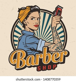 Vintage barbershop colorful print with pin up attractive woman in bandana holding electric hair clipper isolated vector illustration
