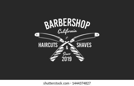 Vintage barbershop emblem isolated on black background. Trendy barber shop poster with crossed blades. Vector illustration