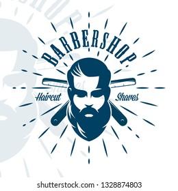 Vintage barbershop emblem, label, badge, logo.