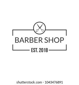 Vintage barbershop logo, vector emblem, label, badge. Isolated on white background