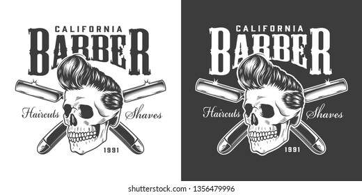 Vintage barbershop logotype with hipster skull and crossed razors on dark and light backgrounds isolated vector illustration