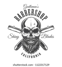 Vintage barbershop monochrome label with bald bearded hipster skull inscriptions and crossed razors isolated vector illustration