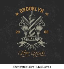 Vintage barbershop old grunge effect tee print vector design illustration. Premium quality superior retro car logo concept. T-shirt emblem, cloth branding or advertising.