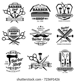 Vintage barbershop vector emblems and labels. Barber badges and logos. Barbershop logo and barber shop vintage label and badge illustration
