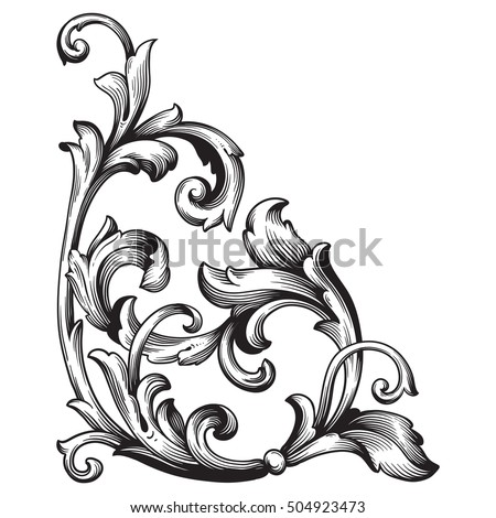 Vintage Baroque Corner Scroll Ornament Engraving Vector De Stock