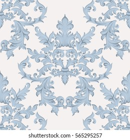 Vintage Baroque damask floral pattern acanthus Imperial style. Vector decor background. Luxury Classic ornament. Royal Victorian texture for wallpapers, textile, fabric. Blue color