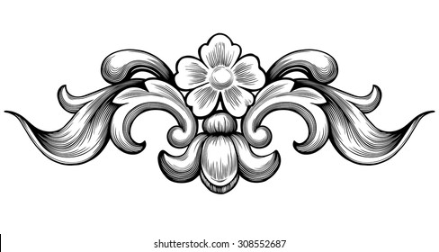 Vintage baroque floral scroll foliage ornament filigree engraving retro style design element vector