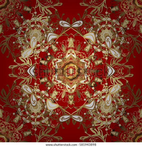 Vintage baroque floral seamless pattern in gold over red. Luxury, royal and Victorian concept. Golden element on red background. Ornate vector decoration.
