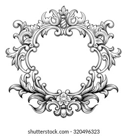 Vintage baroque frame border leaf scroll floral ornament engraving retro flower pattern antique style swirl decorative design element black and white filigree vector wedding invitation greeting card