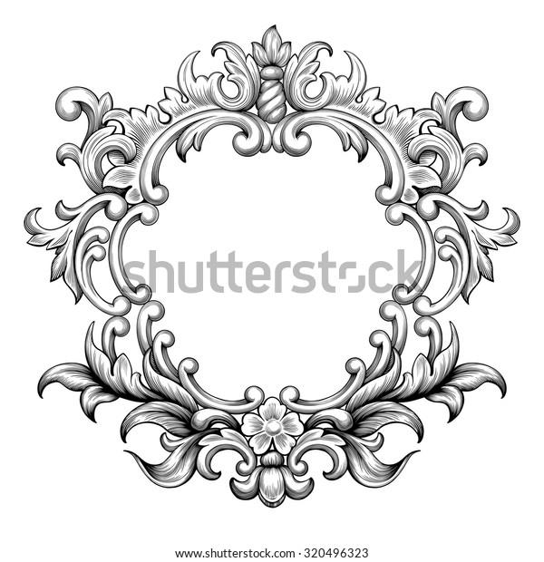 vintage baroque frame border leaf scroll stock vector royalty free 320496323 https www shutterstock com image vector vintage baroque frame border leaf scroll 320496323