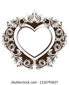Vintage baroque frame heart shape card Vector. Detailed rich ornament illustration graphic line arts