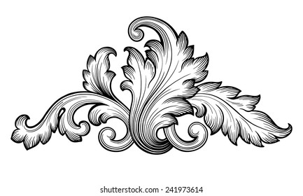 Vintage baroque frame scroll ornament engraving border floral retro pattern antique style foliage swirl decorative design element filigree calligraphy vector