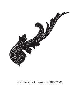 0c2d11330 Vintage baroque frame scroll ornament engraving border floral retro pattern  antique style acanthus foliage swirl decorative