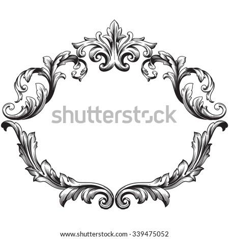 Vintage Baroque Frame Scroll Ornament Engraving Stockvector