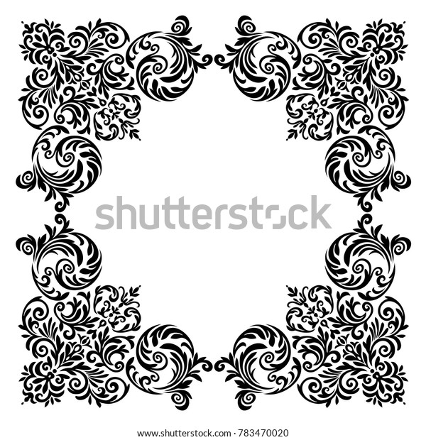 Vintage baroque frame scroll ornament engraving border floral retro pattern antique style acanthus foliage swirl decorative design element filigree calligraphy .Vector.