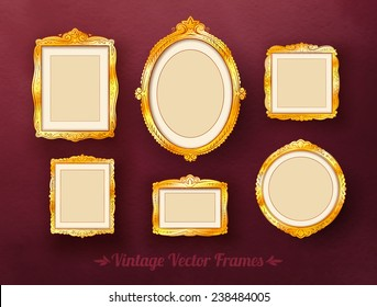 Vintage baroque golden frames set. Vector illustration.