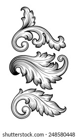 Vintage baroque leaf scroll set black and white foliage floral ornament filigree engraving retro style design element vector