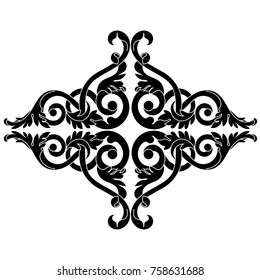 Vintage baroque ornament, corner. Retro pattern antique style acanthus. Decorative design element filigree calligraphy vector. - stock vector