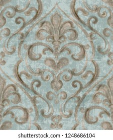 Vintage baroque ornamented background watercolor Vector. Royal luxury texture. Elegant decor design with old grunge styles. Pastel colors