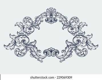 vintage Baroque scroll design frame engraving  acanthus floral border pattern element retro style filigree vector