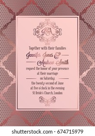 Vintage baroque style wedding invitation card template.. Elegant formal design with damask background, traditional decoration for wedding , pink color.