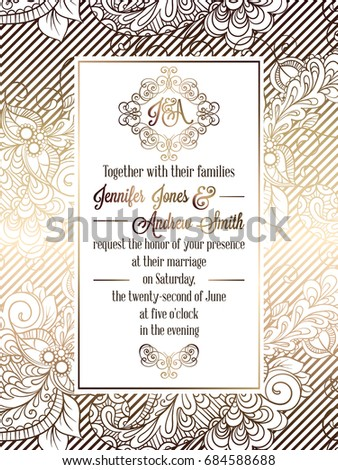 Vintage Baroque Style Wedding Invitation Card Wektor