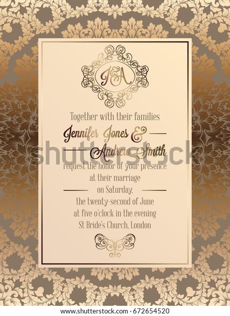 Vintage Baroque Style Wedding Invitation Card Stock Vector