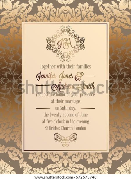 Vintage Baroque Style Wedding Invitation Card Royalty Free