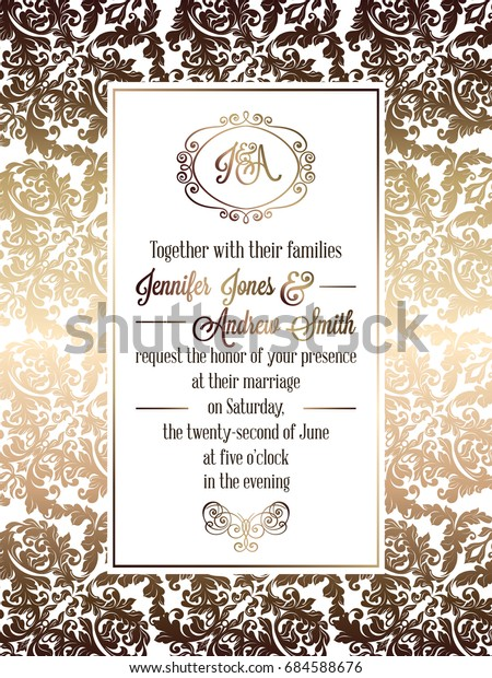 Vintage Baroque Style Wedding Invitation Card Backgrounds
