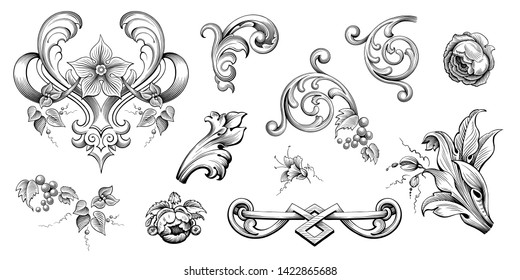Vintage Baroque Victorian frame border floral ornament leaf scroll engraved retro flower pattern decorative design tattoo black and white Japanese filigree calligraphic vector heraldic swirl