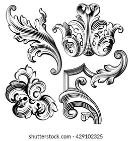 Vintage Baroque Victorian Frame Border Tattoo Stock Vector HD