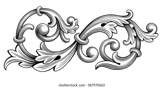 Vintage Baroque Victorian frame border monogram floral ornament leaf scroll engraved retro flower pattern decorative design tattoo black and white filigree calligraphic vector heraldic shield swirl .