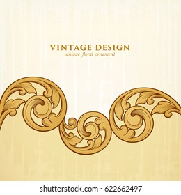 Vintage Baroque Victorian frame border golden floral ornament leaf scroll engraved retro flower pattern decorative design tattoo filigree calligraphic vector heraldic shield swirl monogram