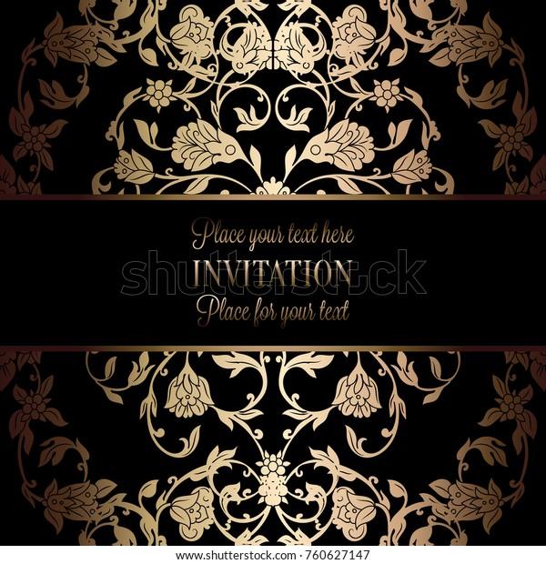 Vintage Baroque Wedding Invitation Template Damask Stock Vector ...