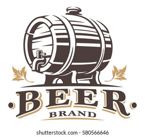 Vintage barrel of beer logo. Text is on the separate layer.