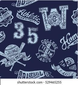 Vintage baseball badges, vector seamless pattern grunge effect in separate layer
