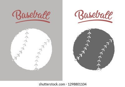 Vintage baseball ball poster in grey and white