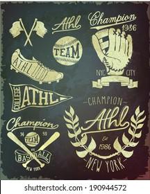 vintage baseball label set