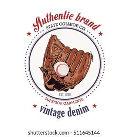 Vintage baseball logo - Glove trap, emblem, badge and design elements