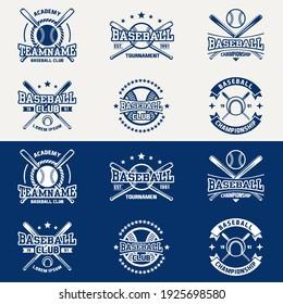 Vintage baseball logos, emblems, badges and design elements. Vector illustration. graphic Art. for t-shirt, club or championship