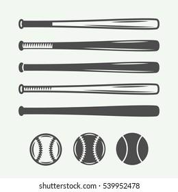 Vintage baseball logos, emblems, badges and design elements. Vector illustration