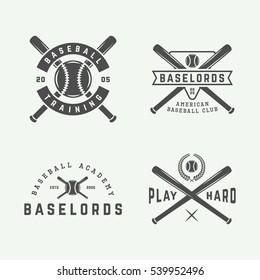 Vintage baseball logos, emblems, badges and design elements. Vector illustration. graphic Art.
