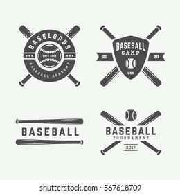 Vintage baseball logos, emblems, badges and design elements. Vector illustration. Monochrome Graphic Art.