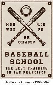 Vintage baseball school poster, template, banner in retro style. Graphic Art. Vector Illustration.