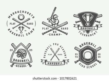 Vintage baseball sport logos, emblems, badges, marks, labels. Monochrome Graphic Art. Illustration.
