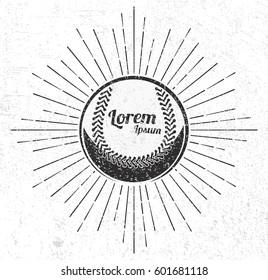Vintage baseball with sunburst on grunge background